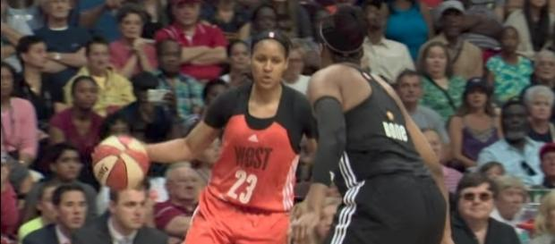 Maya Moore leads all players with nearly 20,000 votes in early WNBA All-Star 2017 vote returns. [Image via WNBA/YouTube]