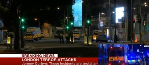 London Bridge Attack, Car Plows into Crowd/Photo screencap from USA Today via Youtube