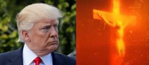 Andres Serrano's Piss Christ (1987) and his portrait of Donald Trump FAIR USE dailycaller.com Creative Commons
