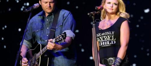 Miranda Lambert with ex-husband Blake Shelton on stage