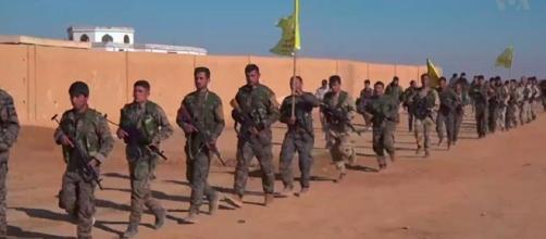 SDF fighters during the Northern Raqqa offensive / Photo via VOA Public domain cited to Voice of America via wiki