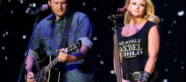 Miranda Lambert with ex-husband Blake Shelton on stage