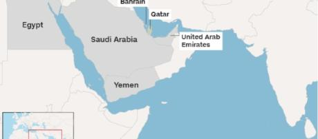 Map showing the countries who have cut ties with Qatar- CNN.com
