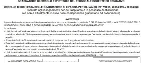 Scuola, modelli da usare per l'iscrizione o l'aggiornamento delle gradautorie istituto.