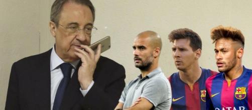 Florentino Pérez con Messi, Neymar y Guardiola