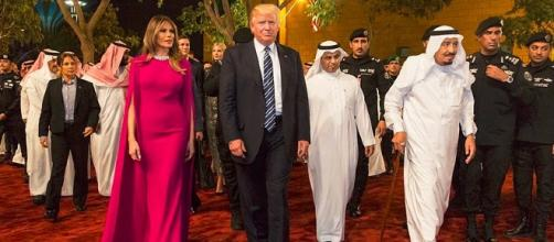 President Donald Trump and First Lady Melania Trump arrive to the Murabba Palace / Photo cc Whitehouse