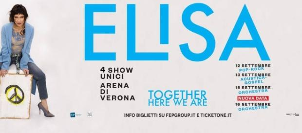 "Elisa, banner ufficiale del ""Together Here We Are"", tratto dalla sua pagina ufficiale Facebook"