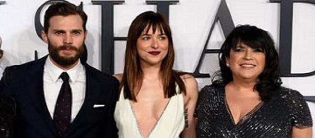Jamie Dornan, Dakota Johnson with E.L. James / Photo via Fifty Shades of Grey , Facebook