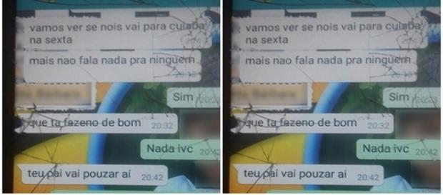 Diálogos entre a menina e o acusado registrados no celular da vítima