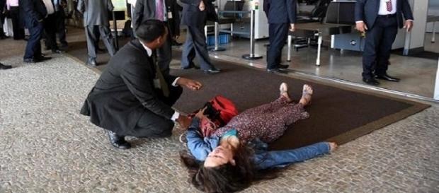 Mulher foi identificada e atendida por brigadista do Palácio do Planalto, nesta quarta-feira.