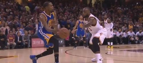 Durant facing James, Youtube, Golden State Warriors channel https://www.youtube.com/watch?v=tPirSckYKf4