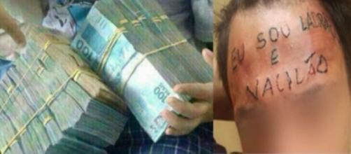 Ladrão que teve testa tatuada arrecada dinheiro (Foto: Reprodução/ Montagem)