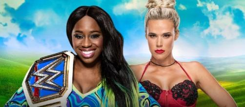 Lana battles Naomi for the WWE 'Smackdown' Women's title at 'Money in the Bank.' [Image via Blasting News image library/wrestlingnewssource.com]