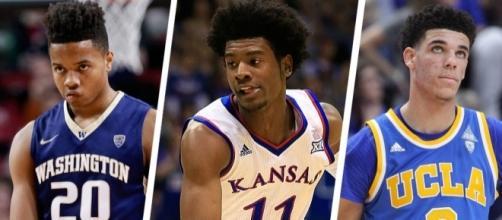 Markelle Fultz, Josh Jackson, and Lonzo Ball are top three picks in mock drafts. [Image via Blasting News image library/basketballinsiders.com]