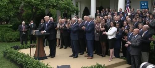 President Trump and Republicans celebrate passing AHCA in the House, May 4. / Photo by WhiteHouse.gov via YouTube