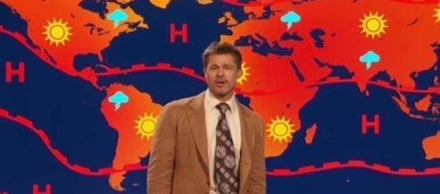 Brad Pitt as the weatherman on the Jim Jefferies show