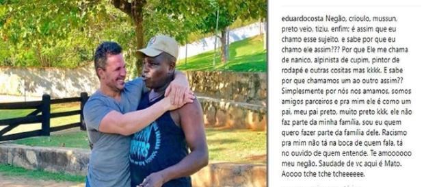 """Eduardo Costa cria polêmica ao chamar amigo de """"Tziu"""""""