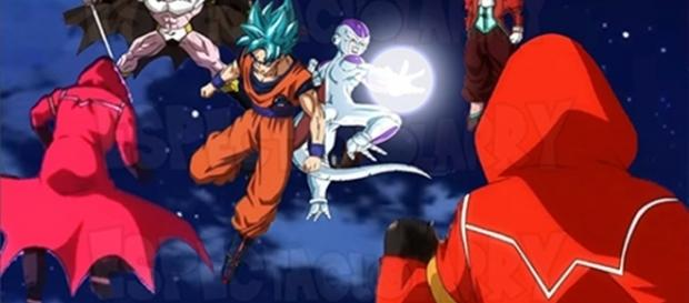 Freezer y Goku unen sus fuerzas.