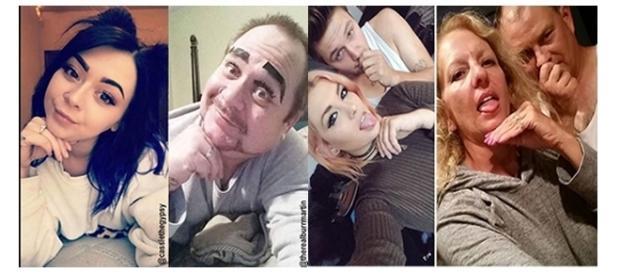 Pais imitando filhos em selfies