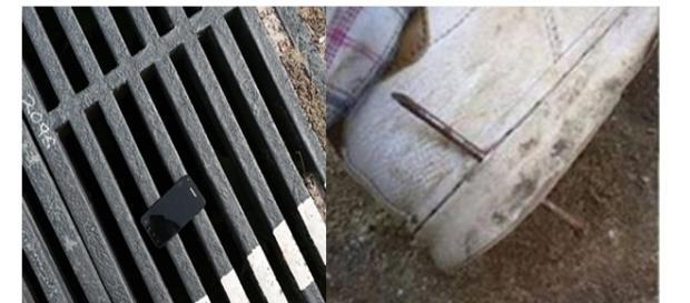 Um chip minúsculo entre o vão e um prego ao lado do pé são exemplos de sorte (Foto: Reprodução)