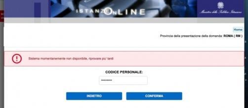 Errore di sistema Istanze On Line