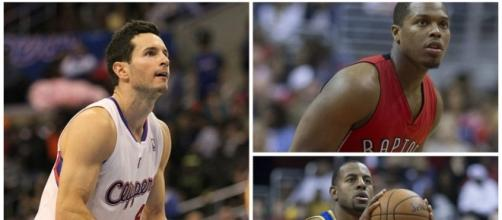JJ Redick (left), Kyle Lowry (top right), and Andre Iguodala (bottom right) (Via Wikimedia Commons)