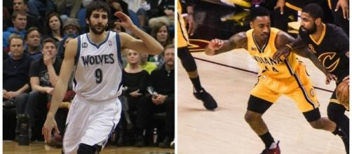 Ricky Rubio (right) leaves Minnesota and Jeff Teague (on left in left photo) joins Minnesota (both pictures via Wikimedia Commons)