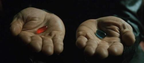 The red pill vs. the blue pill screen grab