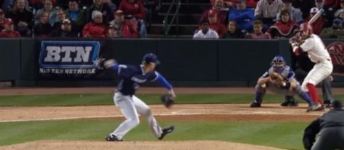 Nebraska baseball's scott schreiber hitting [Image via Big Ten Network/YouTube screencap]