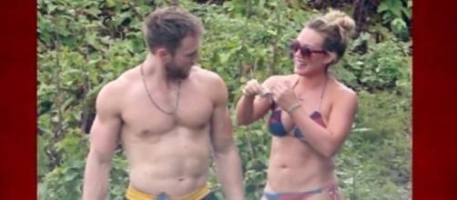 Hilary Duff spends romantic walk with a new man on the beach. Image via YouTube/TMZ