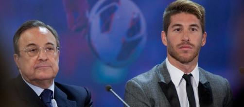 Sergio Ramos y Florentino Pérez, durante una rueda de prensa