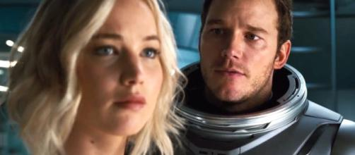 Jennifer Lawrence and Chris Pratt in Passengers (Vimeo screen capture)