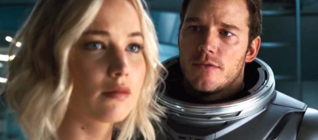 Jennifer Lawrence and Chris Pratt in Passengers (Vimeo screen capture)