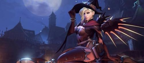 Mercy's Witch skin from the 'Overwatch' Halloween event (image source: YouTube/Akazed)