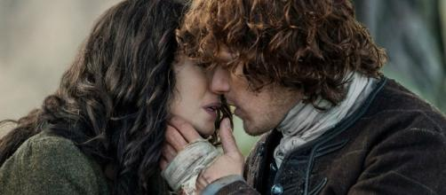 """Outlander"" co-stars Sam Heughan and Caitriona Balfe are flirting online. Photo by Starz"