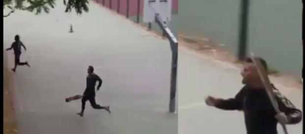 Krewny dziewczynki w pościgu za sprawcami (źródło: youtube.com).