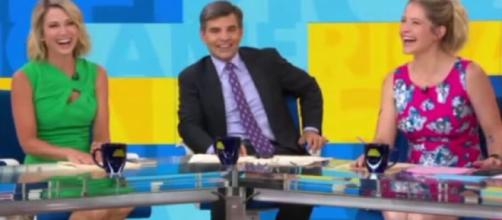 'Good Morning America' allegedly redesigned its desk to hide Georges legs [Image: YouTube screen shot]