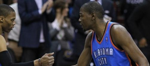 Kevin Durant and Russell Westbrook   Keith Allison via Flickr