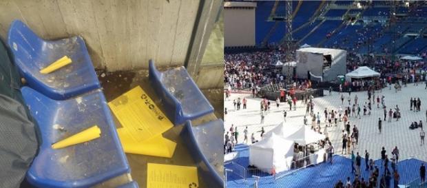 Sediolini sporchi e danneggiati per il concerto degli U2.