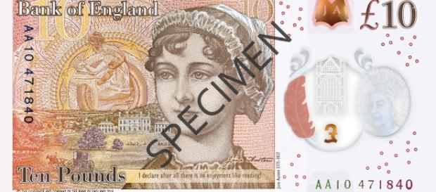 The back of the new £10 note featuring Jane Austen- Bank of England via Flickr