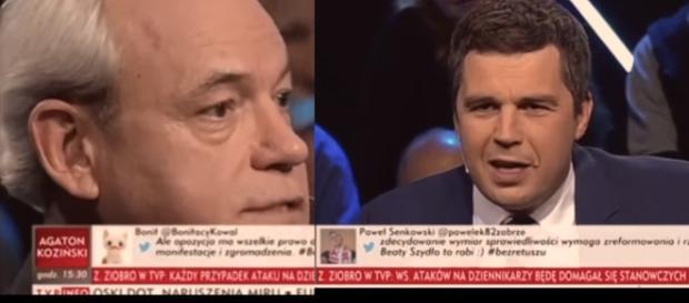 Adam Szejnfeld oraz Michał Rachoń (źródło: TVP Info).