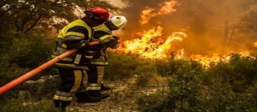 Les sapeurs-pompiers en lutte à Saint-Cannat (13)