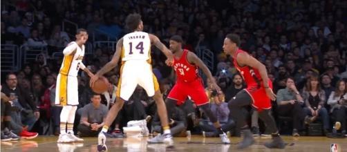 Los Angeles Lakers forward Brandon Ingram dribbles the ball against the Toronto Raptors. Photo - YouTube Screenshot/@NBA