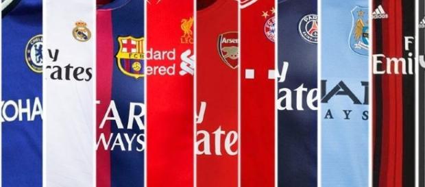 Camiseta de los grandes clubes de Europa