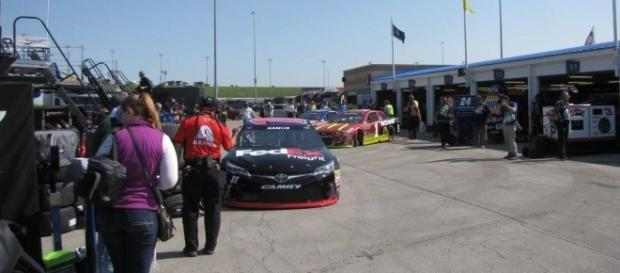 Denny Hamlin heading out for practice (Photo Credit: Steven Oxley)