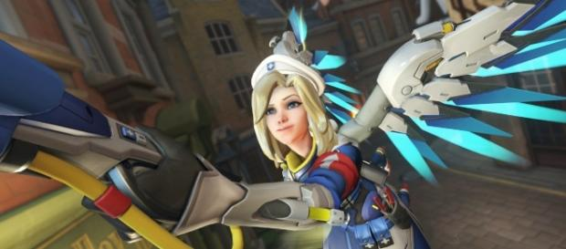'Overwatch' healer Mercy using her Guardian Angel ability (image source: YouTube/Nash)