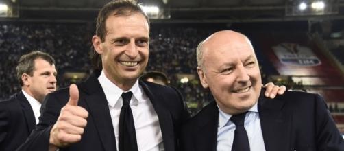 L'allenatore Massimiliano Allegri a sinistra e Giuseppe Marotta a destra