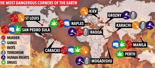 Most dangerous corners of the Earth - via: The Sun.