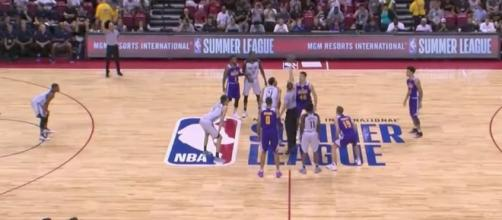The Lakers and Trail Blazers compete in the NBA Summer League Las Vegas finals on Monday night. [Image via NBA/YouTube]