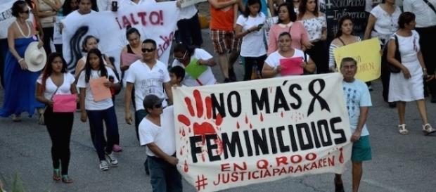 Fotografía de Cuartoscuro, marcha en Cancún, diciembre de 2015